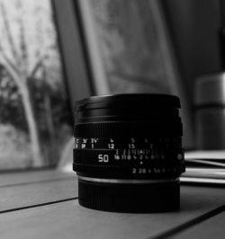 A picture of a blurry summicron 50 R lens with a Sony NEX-5N