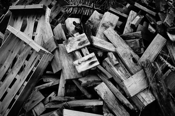 Picture of chopped wood taken by a Sony NEX-5N camera and converted in camera to black and white