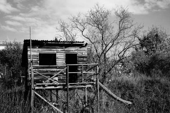 A black and white photo of a child cabin by the Sony NEX-5N