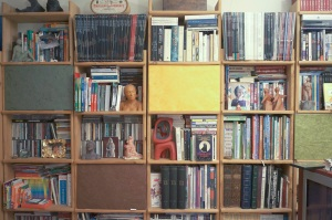 A wall covered in books used as a resolution test for the Zeiss Biogon 25 and Leica Summicron-M 28