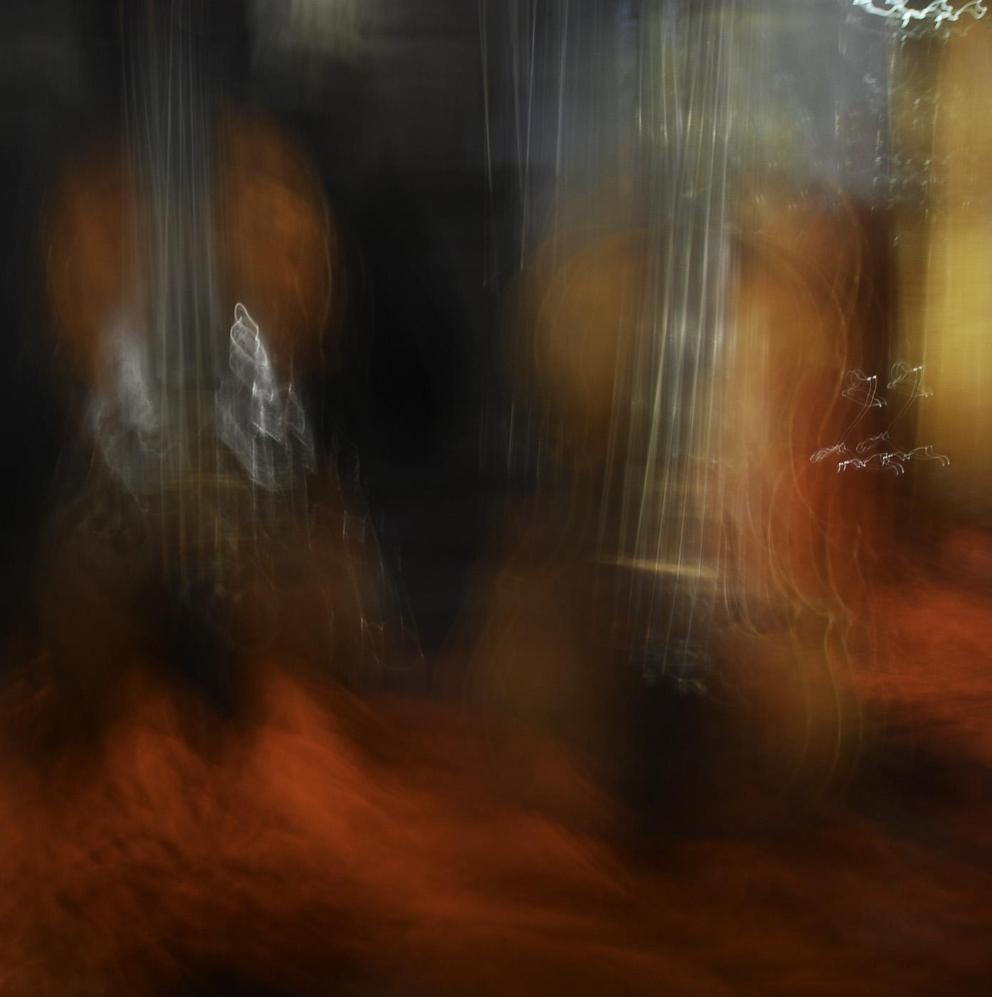 Artistic blur of two guarneri violins in Venice