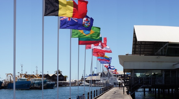 A long line of flags in Fremantle harbour. Panorama using the Sony NEX-5N and Zeiss ZM Biogon 25/2.8