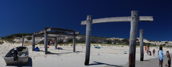 Wooden pillars at the Hamelin Bay boat ramp. Panorama using the Sony NEX-5N and Zeiss ZM Biogon 25/2.8
