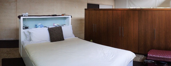 The bed in the Garden Suite at Gilgara retreat, Margaret River. Panorama using the Sony NEX-5N and Zeiss ZM Biogon 25/2.8