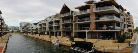 Flats for Sale on a canal in Mandurah, WA. Panorama using the Sony NEX-5N and Zeiss ZM Biogon 25/2.8