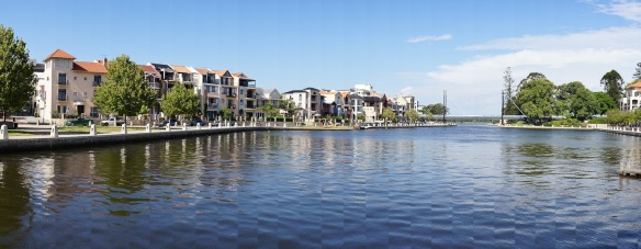 Looking towards the Swan river from Claisebrook Cove, in East Perth. Panorama using the Sony NEX-5N and Zeiss ZM Biogon 25/2.8