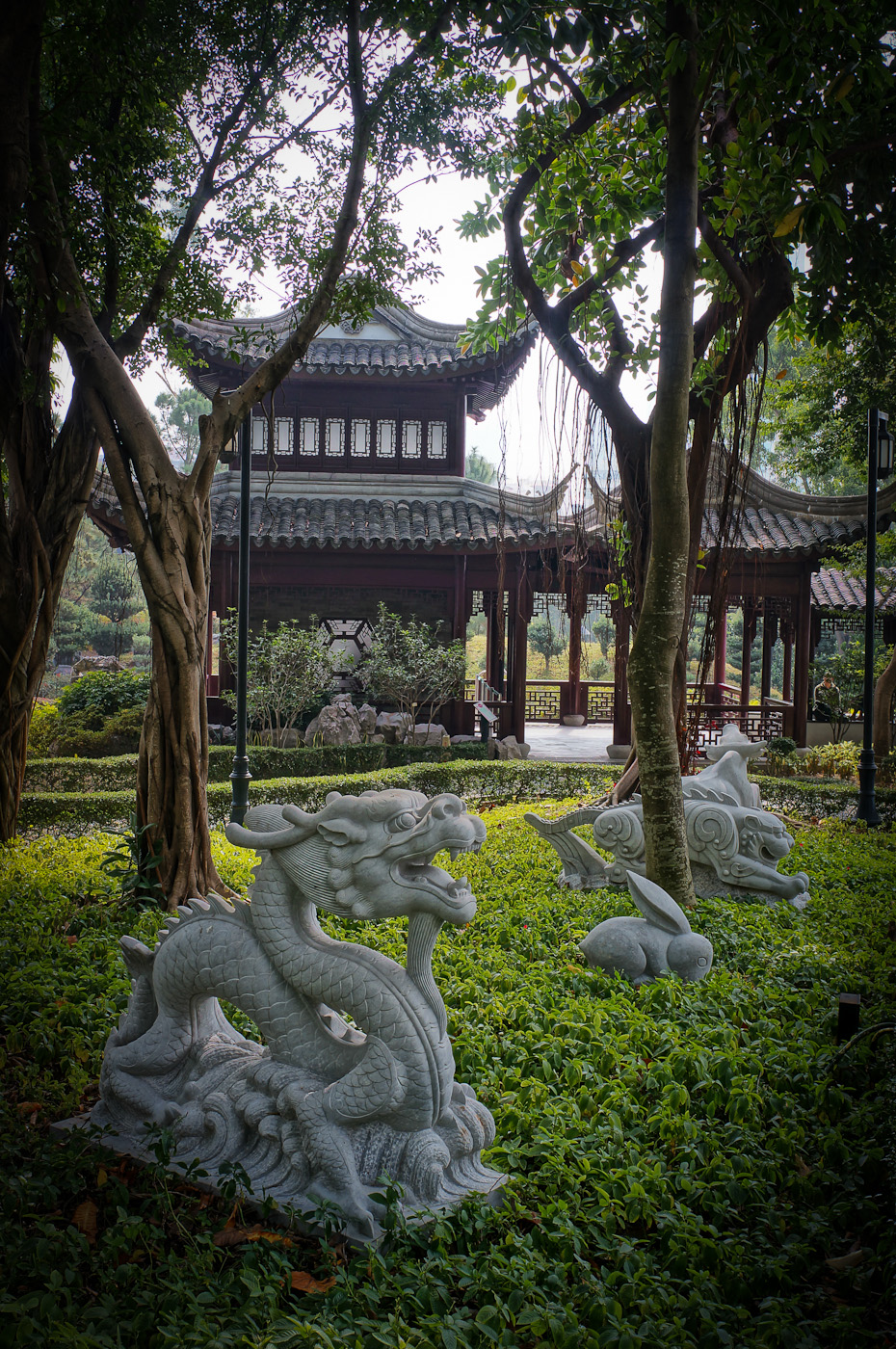 Two Dragon statues inside the Walled City Park in Hong Kong