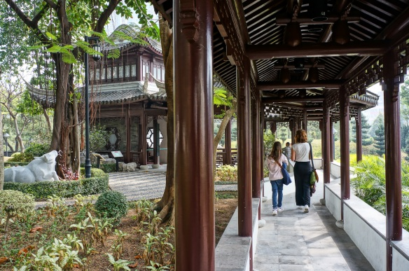 An alley in the Walled City Park in Hong Kong