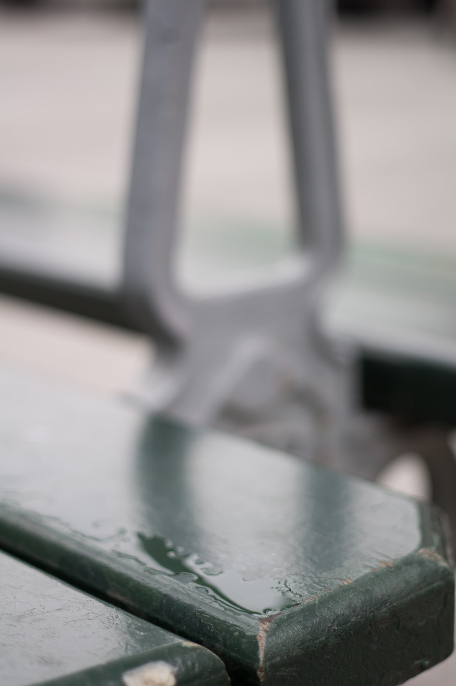 Rainwater on a Paris bench. Sony NEX-5N & Contax G 45mm f/2 Planar