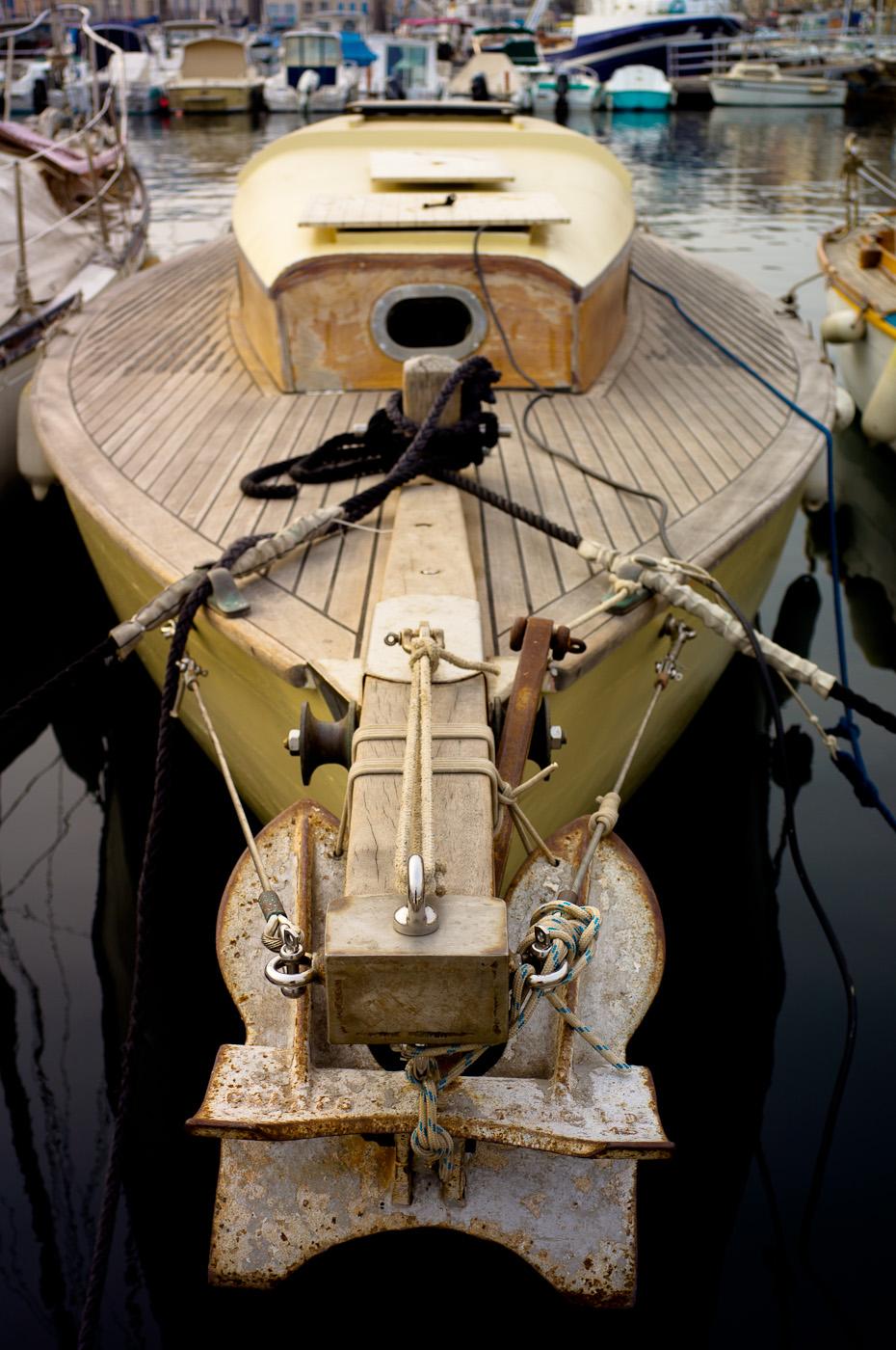A sailboat under repair in La Ciotat