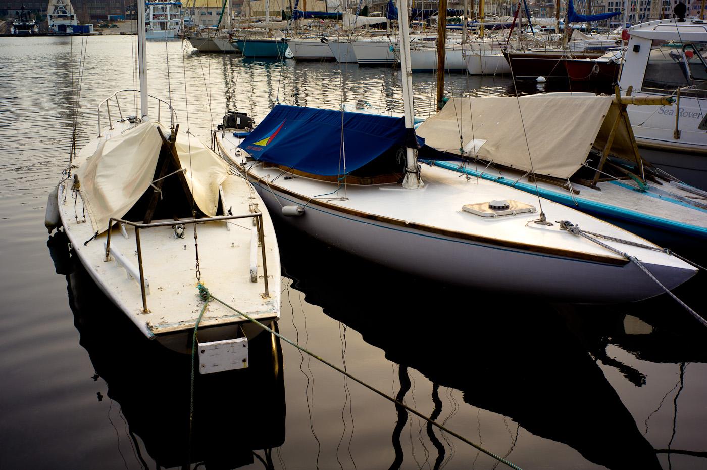 Two dragon boats in La Ciotat harbour