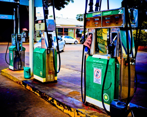 A petrol station in Margaret River, WA with exagerated colours. Sony NEX-5n