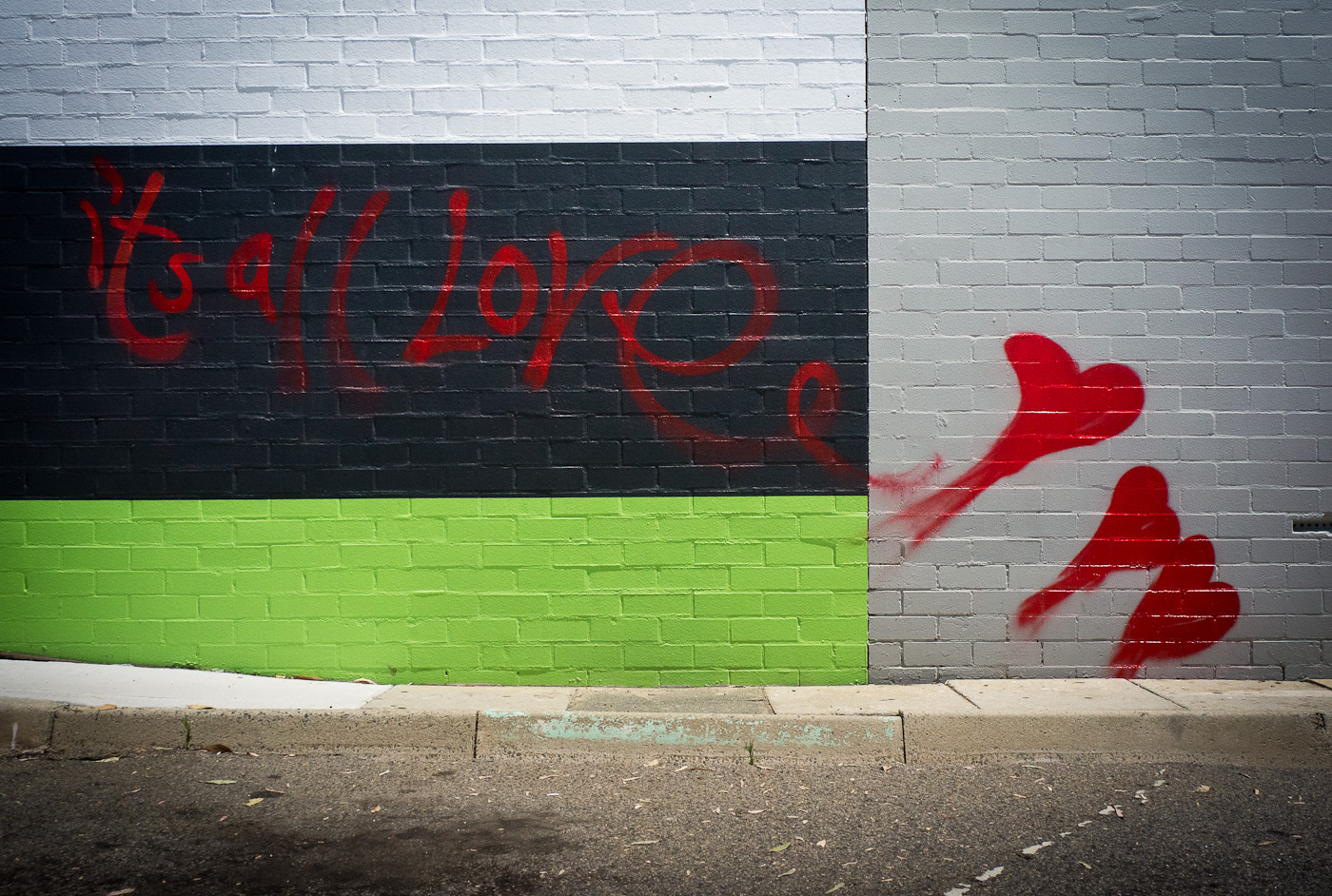 "A graffiti on a wall in Northbridge, Perth, reading ""It's all love"". Sony NEX-5n"