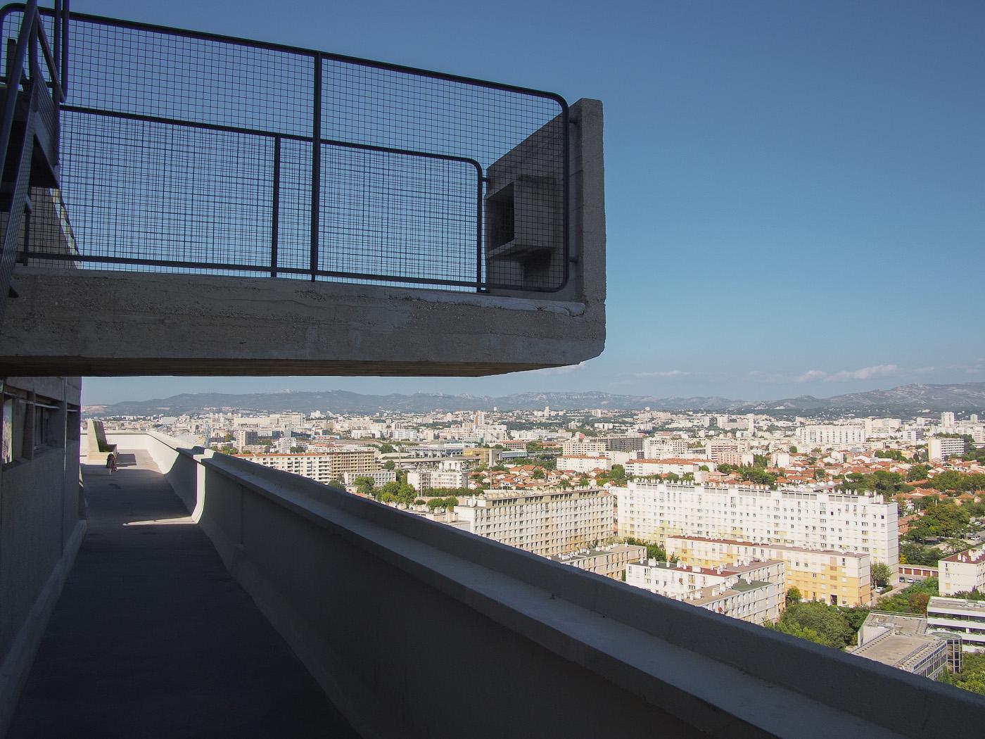 The top deck jutting out over Marseilles in La Cité Radieuse, by Le Corbusier. Olympus OM-D EM-5.
