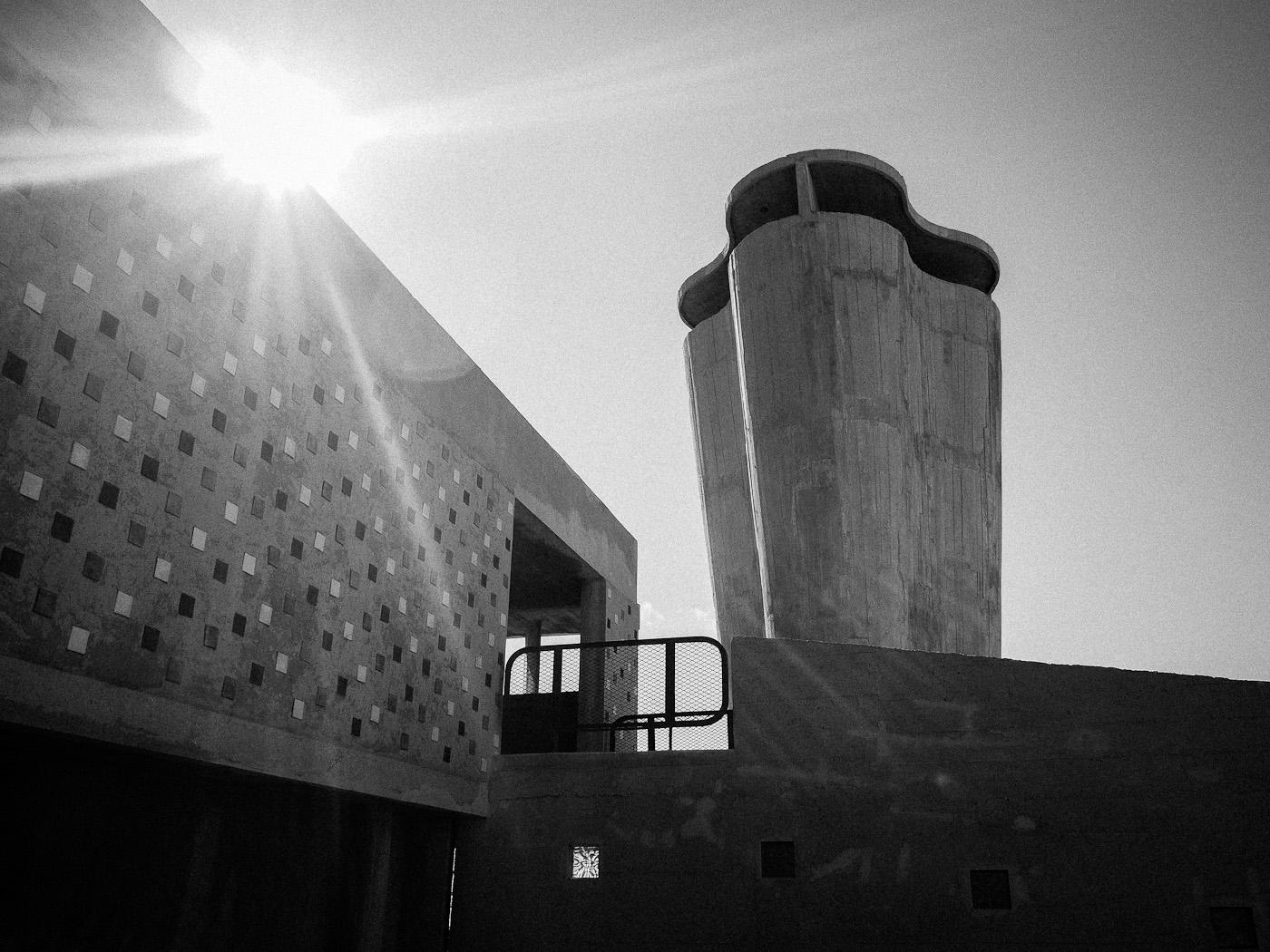 The rooftop gymnaisum at Le Corbusier's La Cité Radieuse in Marseilles. Olympus OM-D E-M5.