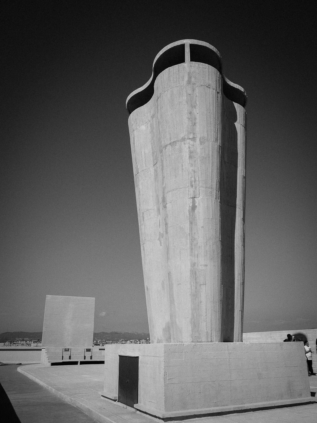 A chimney and rooftop theater at Le Corbusier's La Cité Radieuse, Marseilles. Olympus OM-D E-M5.
