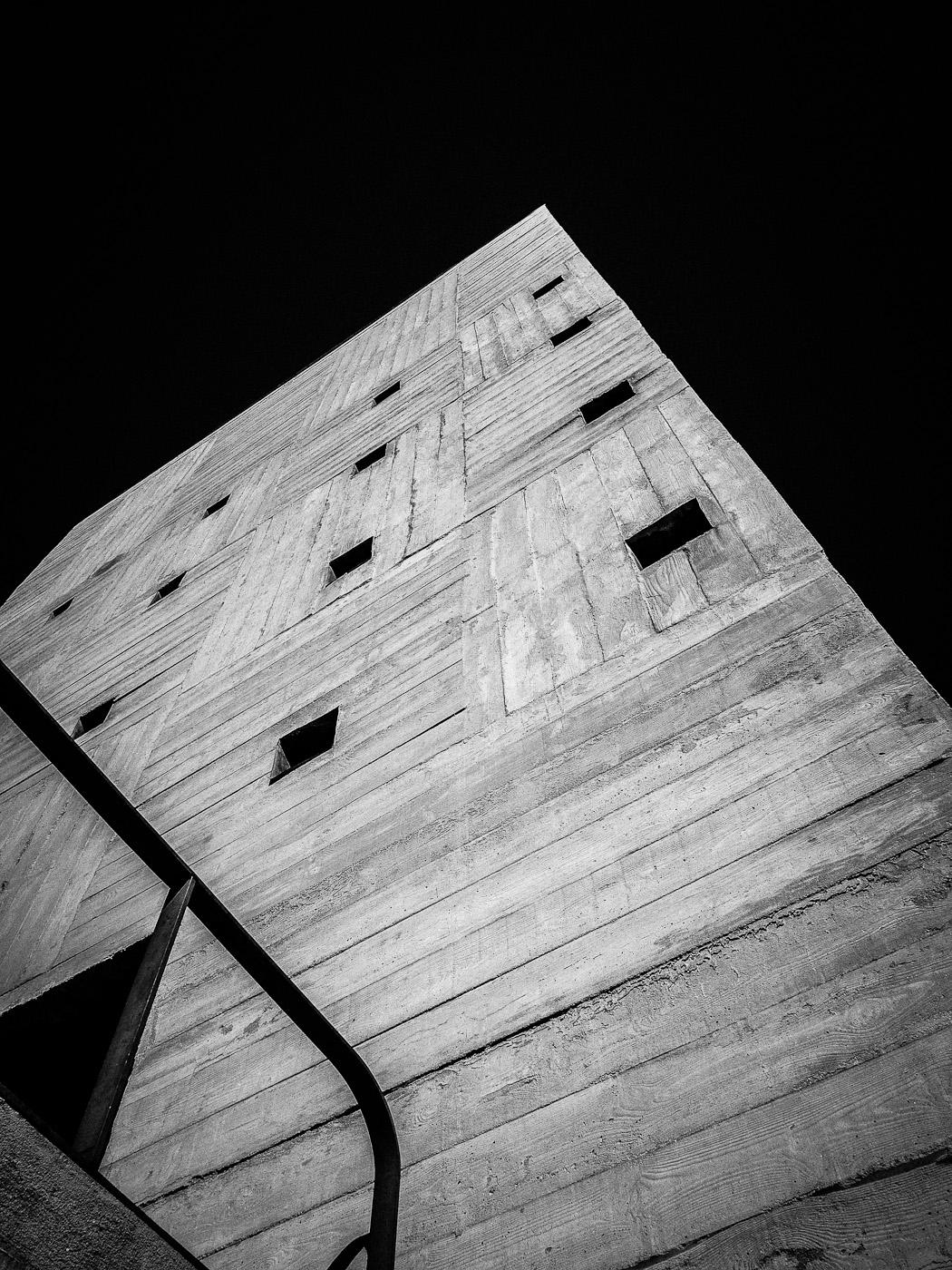Concrete cube atop Le Corbusier's Cité Radieuse in Marseilles. Olympus OM-D E-M5.
