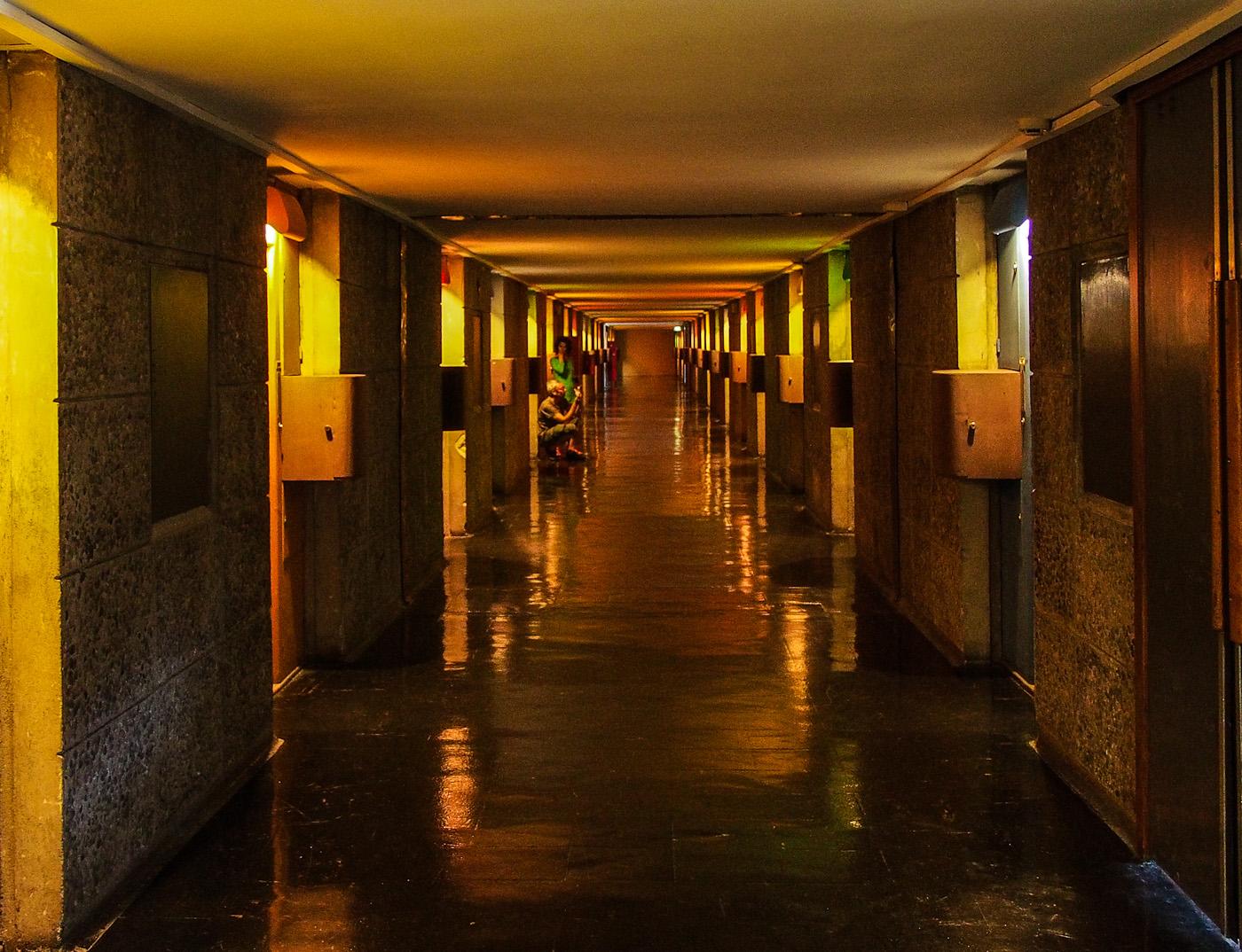 """A """"street"""" corridor in Le Corbusier's Cite Radieuse, Marseilles. Olympus OM-D EM-5"""