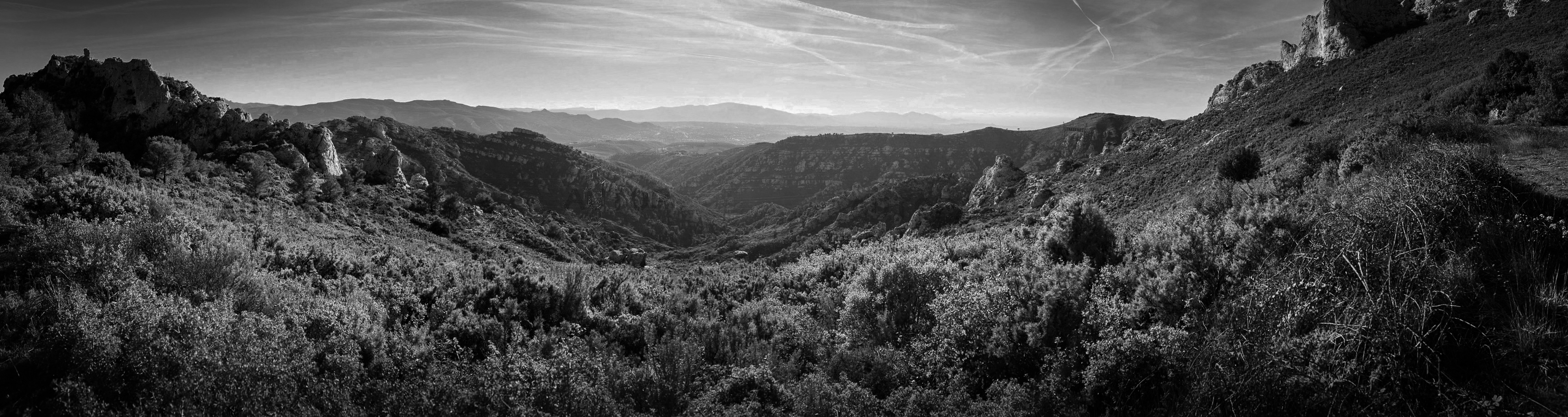 A panorama Stitched and converted to monochrome