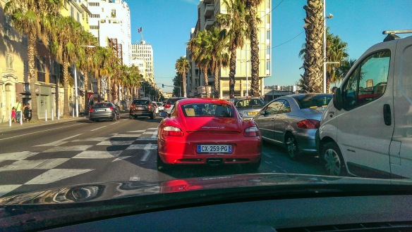 A red Porsche Cayman in Toulon - HTC One