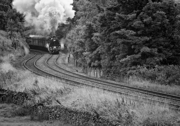 Heading north; former LMS 4-6-0 no. 45231 heads an enthusiasts' special near Settle  Sony NEX-7, 135mm f2.8 Leica Elmarit