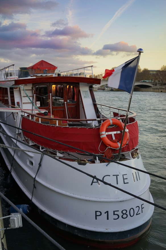 The Acte 3 yacht on the Seine river in Paris.