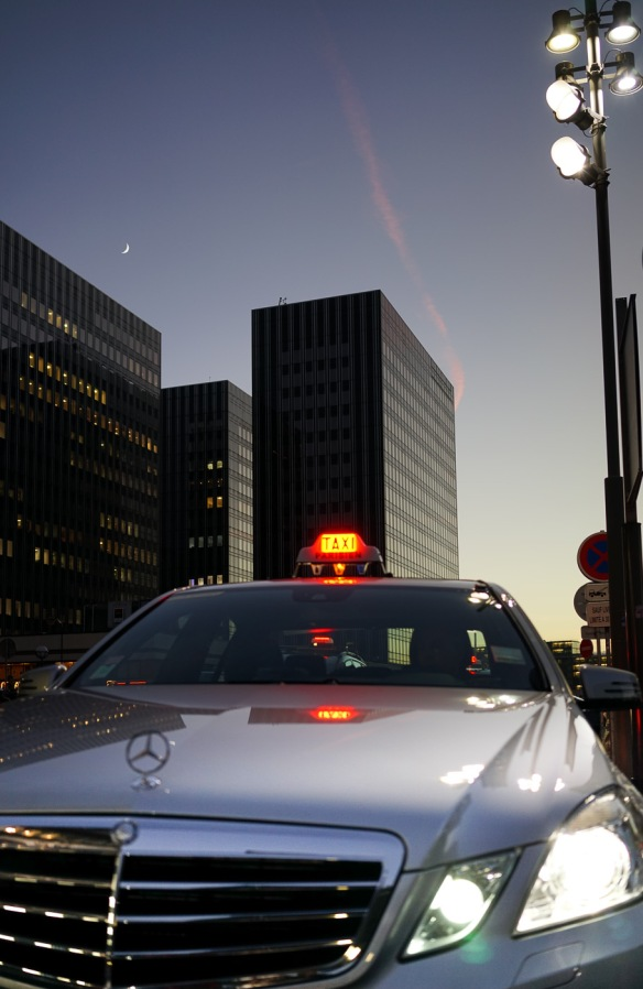 A mercedes taxi at Gare de Lyon in Paris, at night. Sony A7r