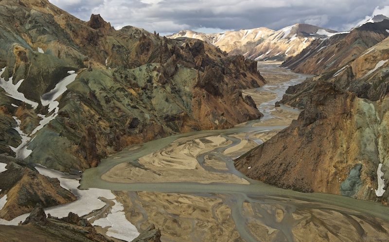 Landmannalaugar valley from the tour's helicopter.