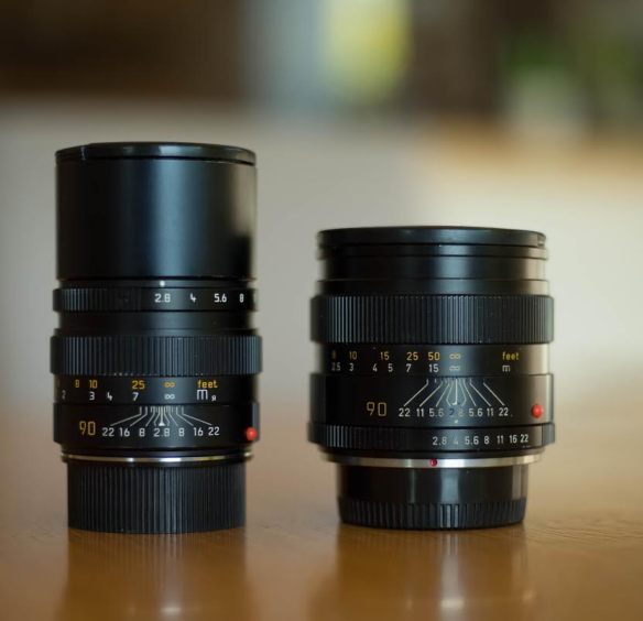 Two versions of the Leica Elmarit 90mm f/2.8 lens
